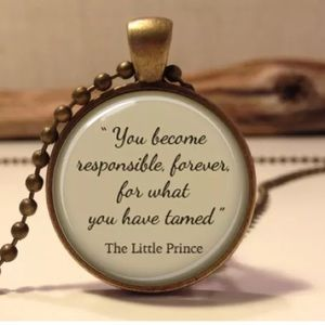 The Little Prince Quote Glass & Brass Necklace
