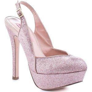 Betsey Johnson dizzy blush glitter heels slingback