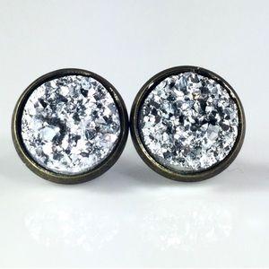 thejeweladdict Jewelry - 3 for 15🎀chunky silver faux Druzy bronze studs