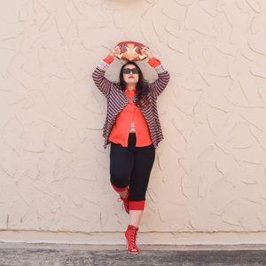 Lucky Brand Jackets & Blazers - Burgundy & Beige Striped Knit Moto Jacket