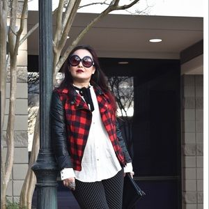 Faux Leather & Red Plaid Moto Jacket