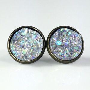 thejeweladdict Jewelry - 3 for 15🎀smoky Crystal faux Druzy bronze studs