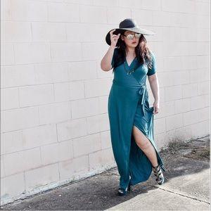 Forever 21 Dresses & Skirts - Peacock Green Wrap Maxi Dress