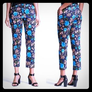 Navy Floral Printed Classic Ankle Pants