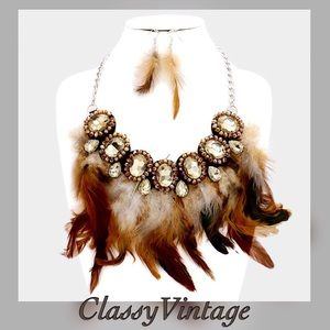 Crystal embellished feather necklace & earrings