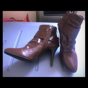 Brown booties, never worn