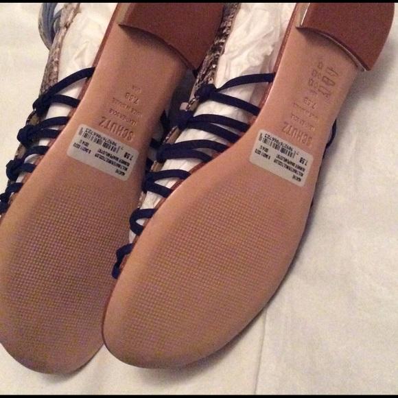 SCHUTZ Shoes - Clover Snake Sandals Blue Size 7.5 New