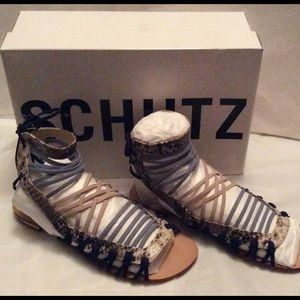 SCHUTZ Shoes - Clover Snake Sandals Blue Size 7.5 New