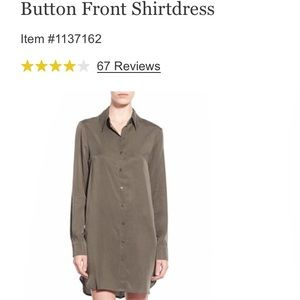 Wayf Dresses - Wayf Olive Button front Shirt Dress