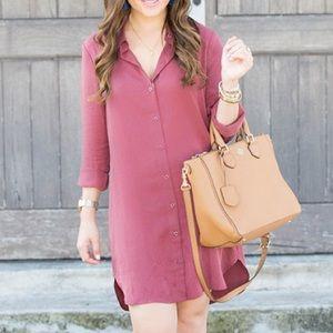 Wayf Dresses & Skirts - Wayf Oxblood Button Front Shirt Dress