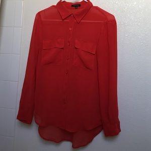 Coral, sheer long sleeve blouse