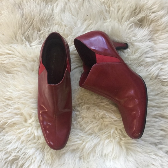b96e045dd70 Bandolino Shoes | Ruby Red Patent Leather Kitten Heel Booties | Poshmark
