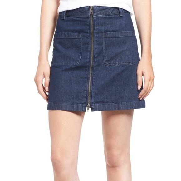 15224ba121 Madewell Dresses & Skirts - Madewell Front Zip Denim Miniskirt
