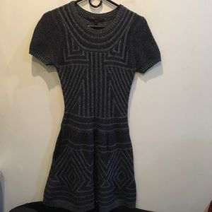 BCBGMaxAzria Dresses & Skirts - BCBGMaxAzria Gray Knit Geometric Sweater Dress