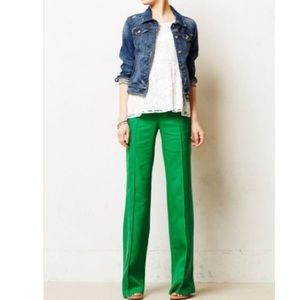Chic Euro style green wide leg Olivia jeans