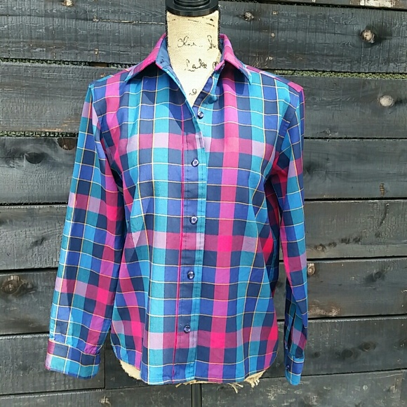 Vintage Pendleton Long Sleeve Plaid Shirt CAFO9dtR1