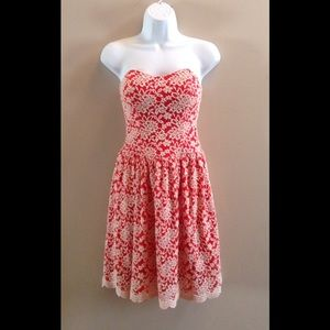 Aina Be Dresses & Skirts - Aina Be Red Cream Flower Lace Dress Sz Small