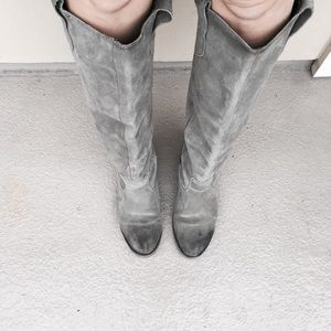 Urban Outfitters Gray Suede Riding Boot