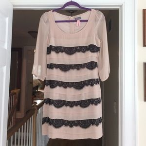 Lipsy London Dresses & Skirts - Lipsy light pink dress with black lace