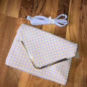 SALE! Sky blue and beige woven clutch with strap