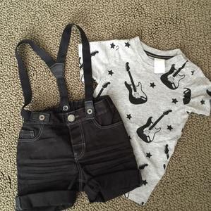 H&M Kids Other - Guitar Rocker Short Set Suspenders 6-9 months
