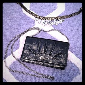 Black Coach clutch with chain