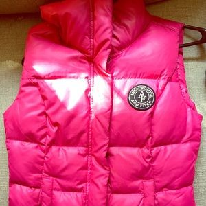 ABERCROMBIE & FITCH Down Puffer Vest Small Pink