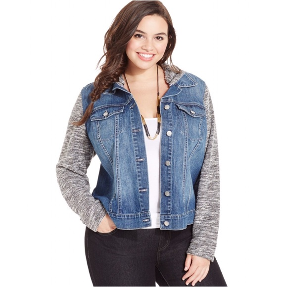 4027415ba43 Jessica Simpson Jackets   Blazers - Plus Size Hooded Denim Jacket