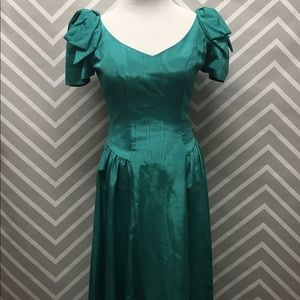 Dresses & Skirts - Vintage 80s Teal Drop Waist Prom Dress