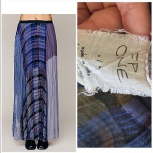 414b8fc900 Free People Skirts | Fp One Royal Blue Plaid Patchwork Maxi Skirt ...