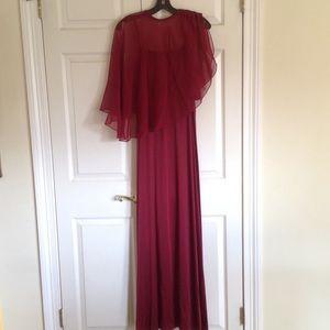 Dresses & Skirts - Vintage Burgundy dress with sheer cape