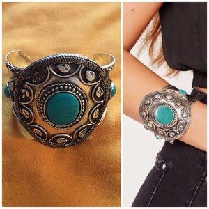 Faux turquoise Bohemian cuff