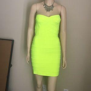 Nameless strapless neon dress