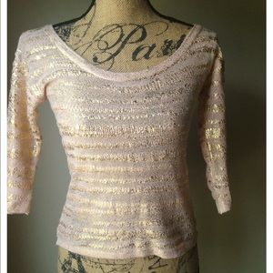 H&M Pink and gold light weight sweater