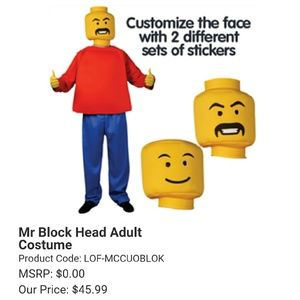 Lego Other - Morphsuits Mr. Blockhead Adult Halloween Costume