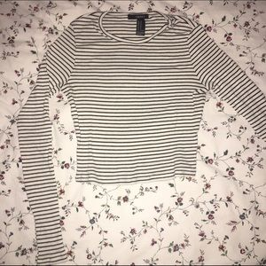 F21 stripped cropped long sleeve