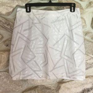 Piperlime Dresses & Skirts - Piperlime White & Silver Sequin Skirt