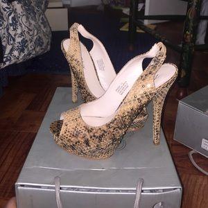 Shoes - Snake skin studded peep toe heels