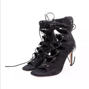 Maje Shoes - MAJE Black Suede Leather Lace Up Sandals