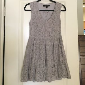 OVI Dresses & Skirts - Lace baby doll dress in pretty gray!