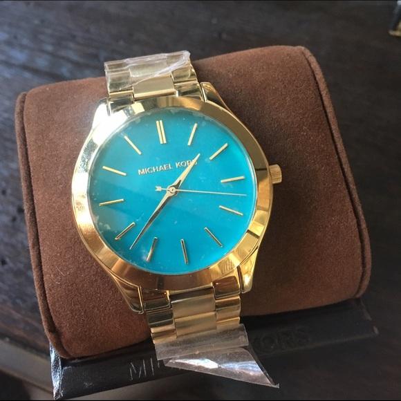 e559ddb28834e Michael Kors MK3492 Slim Runway Gold Blue NEW!!