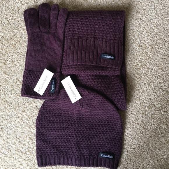Calvin Klein scarf gloves hat set 147106f8cb8