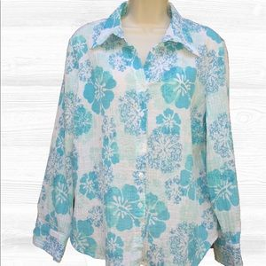 Orvis Tops - Orvis Textured Floral Hawaiian Print Blouse EUC