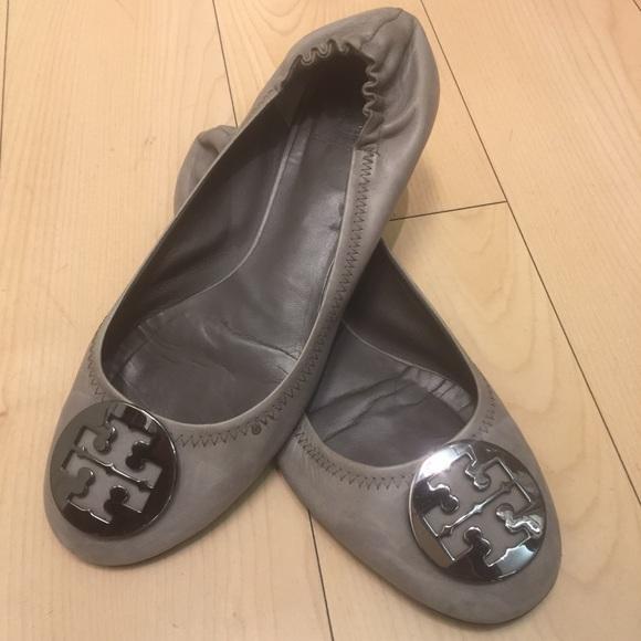 Tory Burch Grey Leather Flats