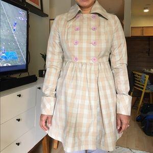 Tulle Jackets & Blazers - Tulle light cotton coat in tan plaid