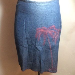 Free People Denim Palm Embroidered Skirt Size 5
