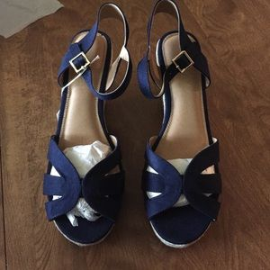 Shoes - 🆕 Blue Ankle Strap Criss Cross Cut Out Wedges