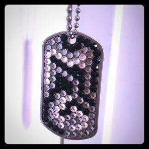 Jewelry - Rhinestone Dog Tag Necklace