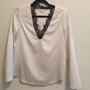 Cooper & Ella Tops - Lace & Silk Blouse White V Neck Black Lace Detail