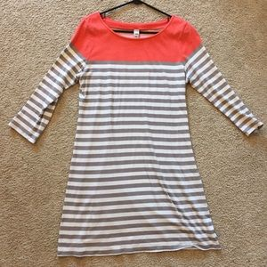 Old Navy coral and gray striped TShirt dress